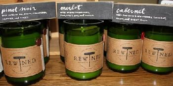 Rewine Candles, made in Charleston, SC using soy, set in the bottom half of recycled wine bottles. Everyone likes candles -- wine lovers will be nuts about these! Call Zeto today 336.574.2850 and order yours now. $26 each plus tax and shipping as applicable.