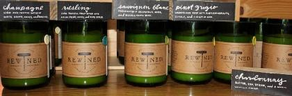 Rewined Candles in recycled bottom half of wine bottles, soy wax candle with white wine and Champagne scents. Please call or email as all scents may not be available.  $26 at Zeto in Greensboro, NC.
